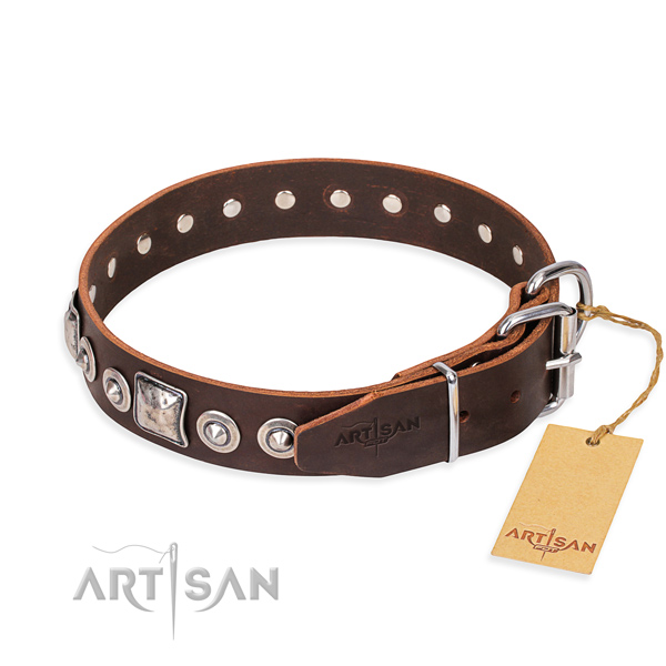 Full grain leather dog collar made of soft to touch material with corrosion resistant studs