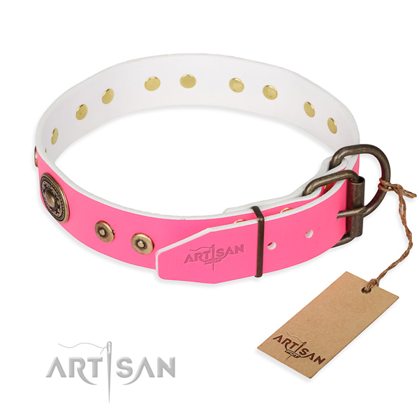 Natural genuine leather dog collar made of flexible material with strong embellishments