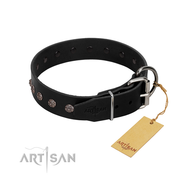 Gentle to touch genuine leather dog collar with studs for comfortable wearing