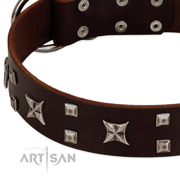 Gentle to touch full grain genuine leather dog collar with embellishments for comfortable wearing