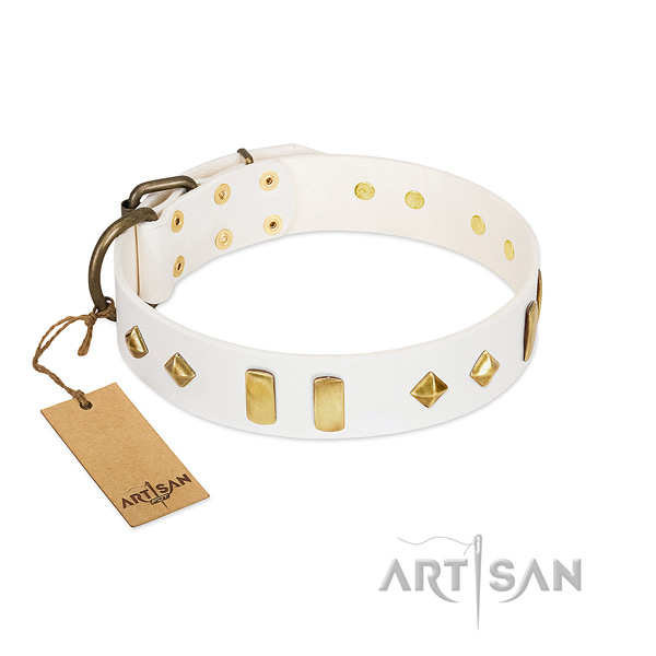 Handy use flexible leather dog collar with decorations