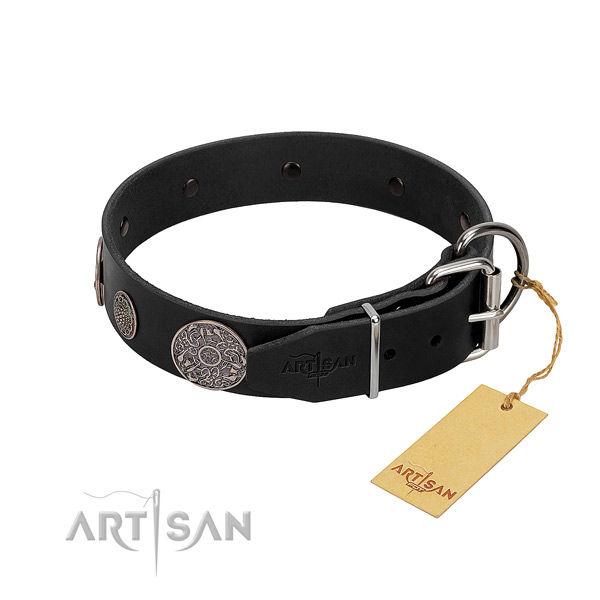 Rust-proof adornments on natural genuine leather dog collar