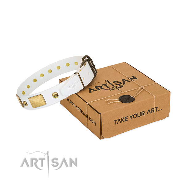 Quality full grain leather collar handcrafted for your pet