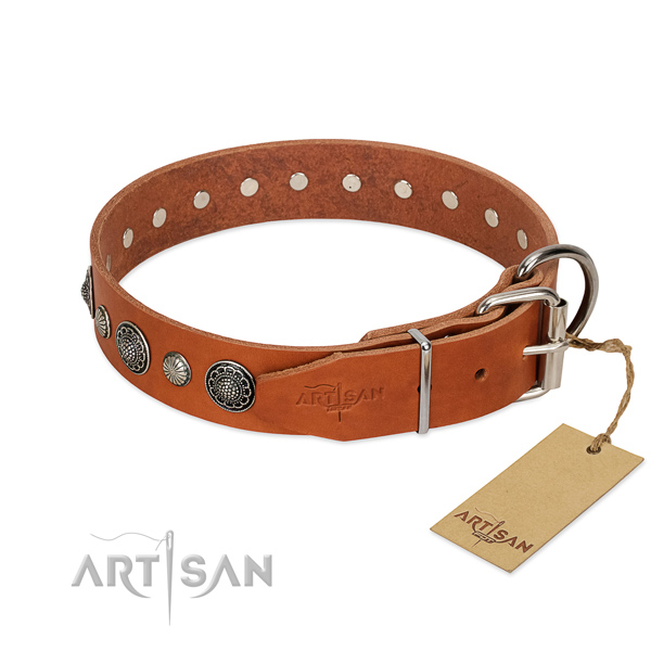 Best quality full grain genuine leather dog collar with corrosion proof fittings