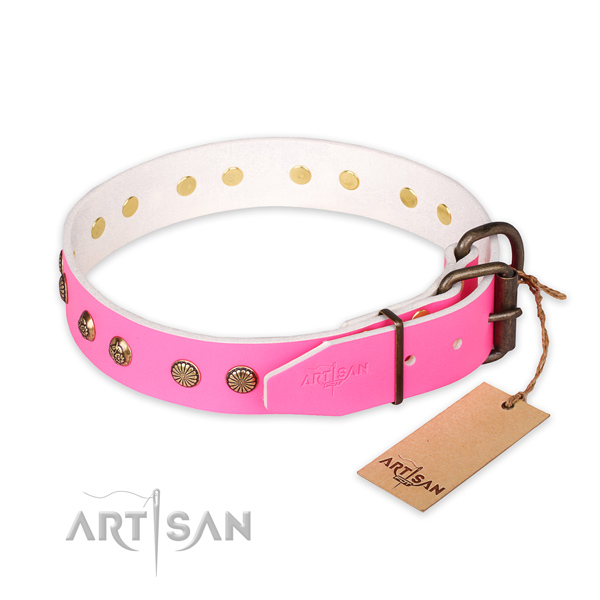 Rust-proof buckle on natural genuine leather collar for your impressive pet