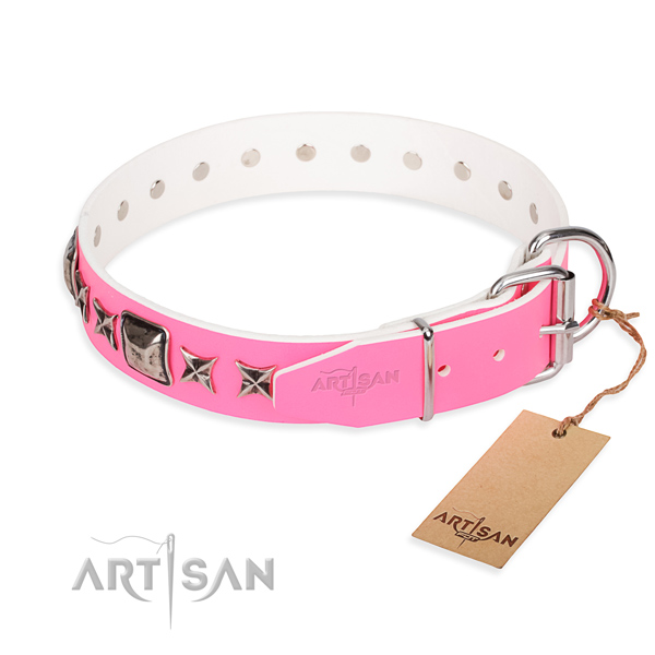 Finest quality embellished dog collar of natural leather