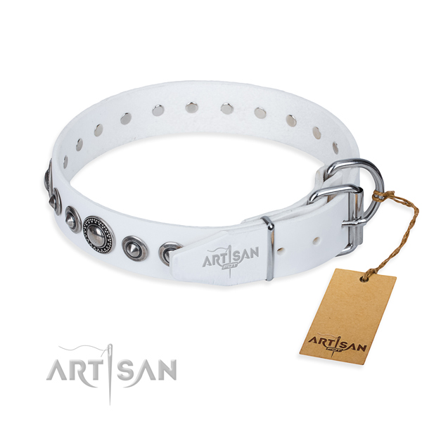 Full grain leather dog collar made of reliable material with rust-proof embellishments