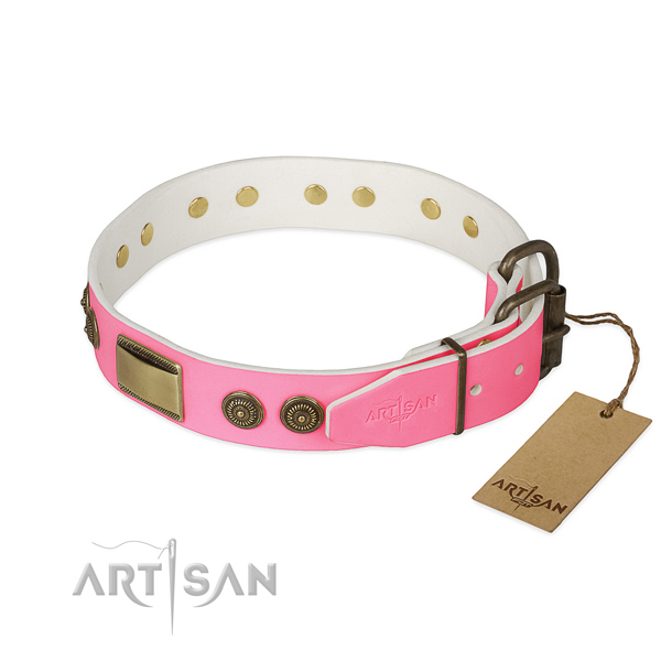 Rust-proof buckle on comfy wearing dog collar