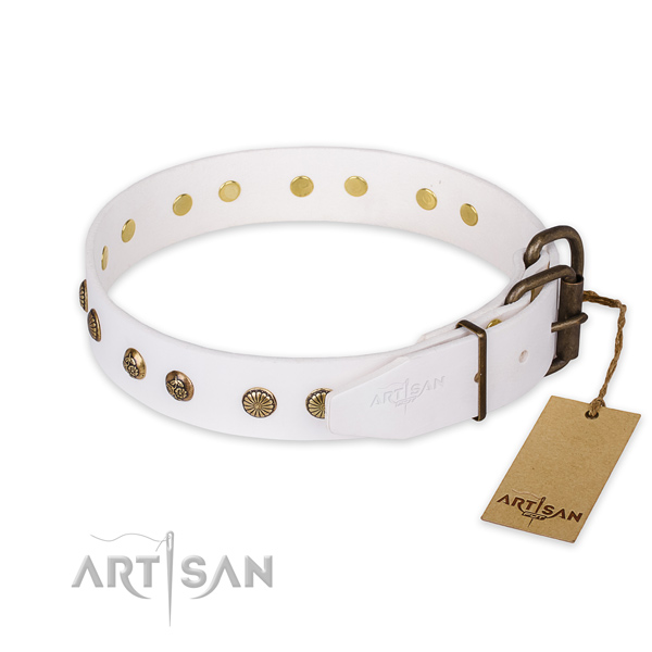 Durable fittings on full grain natural leather collar for your lovely canine