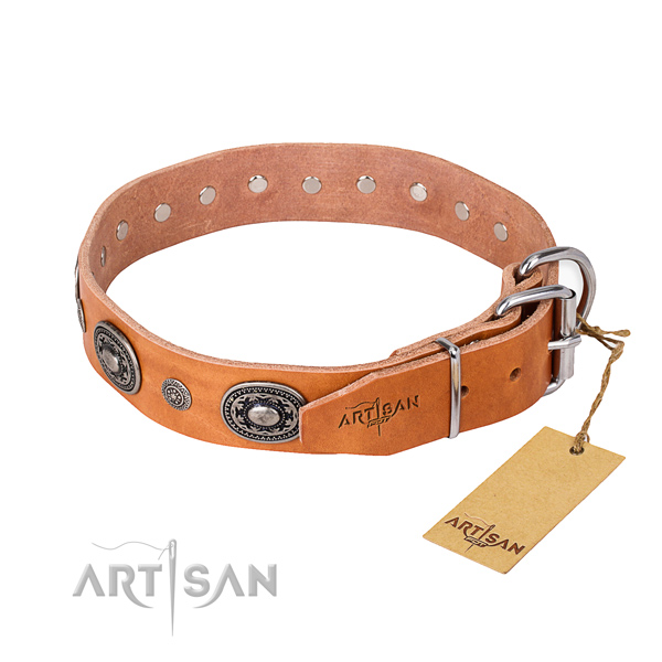 Soft full grain natural leather dog collar created for comfy wearing