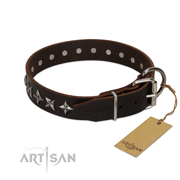 Comfy wearing studded dog collar of durable full grain natural leather