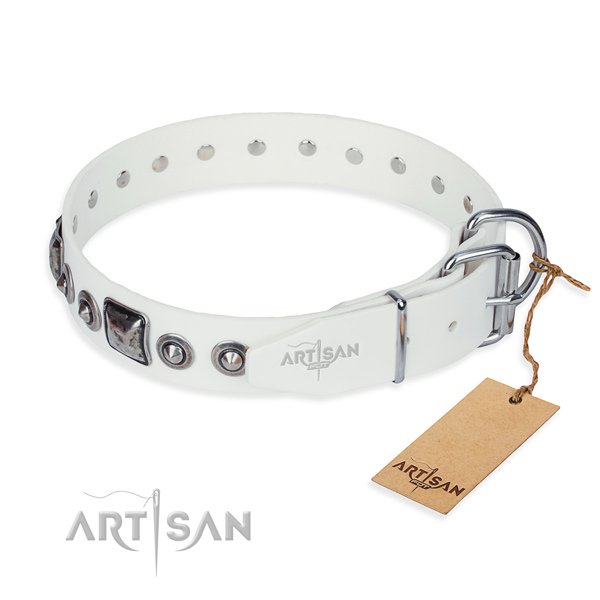 Quality full grain leather dog collar handcrafted for comfortable wearing