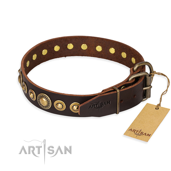 Top notch full grain natural leather dog collar created for fancy walking