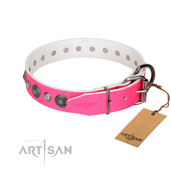 Quality genuine leather dog collar with corrosion proof buckle