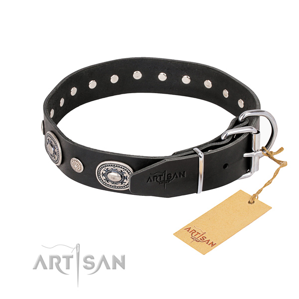 Top rate full grain leather dog collar crafted for everyday walking