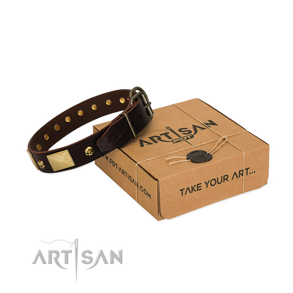 Soft to touch leather collar with corrosion proof adornments for your pet