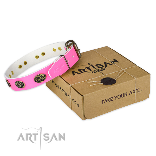Decorated natural genuine leather dog collar for stylish walking