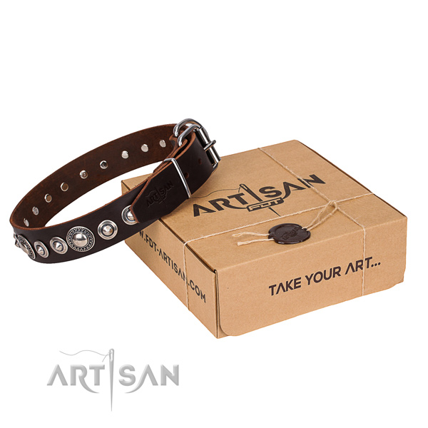 Full grain leather dog collar made of quality material with rust-proof D-ring