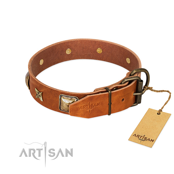 Full grain leather dog collar with corrosion resistant buckle and studs