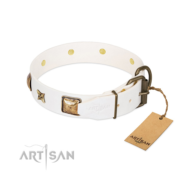 Genuine leather dog collar with strong D-ring and embellishments