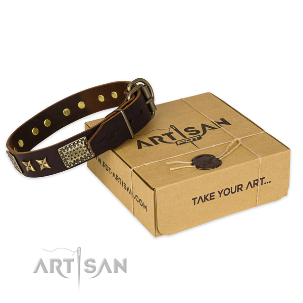 Strong hardware on full grain genuine leather collar for your handsome four-legged friend