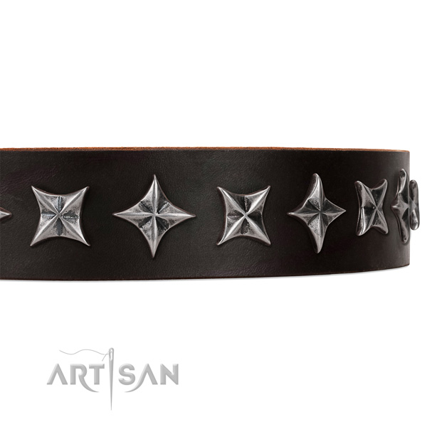 Stylish walking embellished dog collar of high quality genuine leather