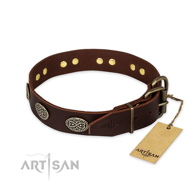 Durable buckle on full grain leather collar for your impressive dog
