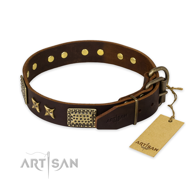 Rust-proof buckle on full grain genuine leather collar for your handsome canine
