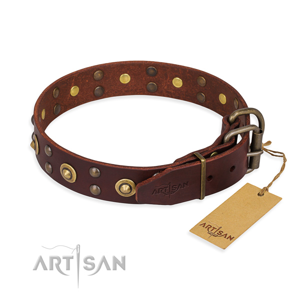 Rust resistant traditional buckle on full grain leather collar for your handsome pet