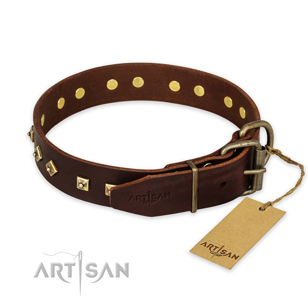 Rust resistant hardware on genuine leather collar for basic training your pet