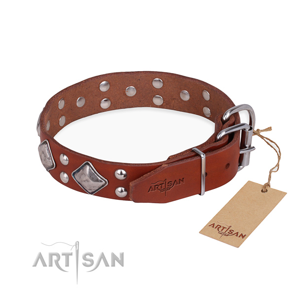 Full grain genuine leather dog collar with impressive reliable decorations