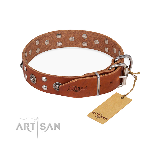 Corrosion proof hardware on full grain leather collar for your beautiful dog