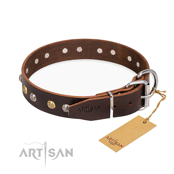 Soft leather dog collar made for everyday walking
