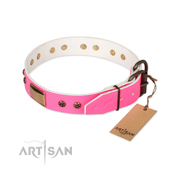 Corrosion resistant traditional buckle on full grain leather dog collar for your dog