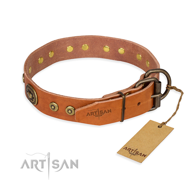 Natural genuine leather dog collar made of quality material with rust resistant embellishments
