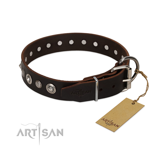 Finest quality genuine leather dog collar with stunning studs