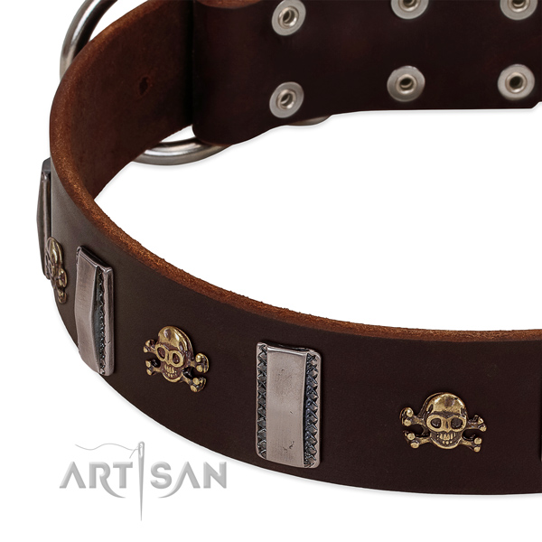 Handcrafted dog collar of full grain natural leather with studs