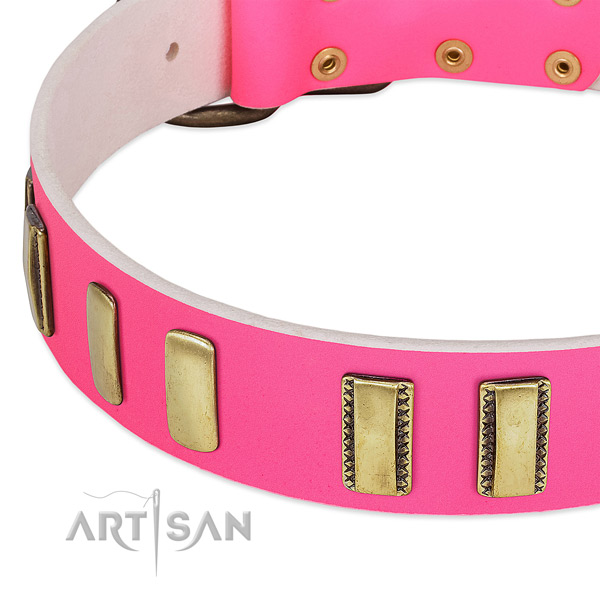 Gentle to touch full grain genuine leather dog collar with decorations for comfy wearing
