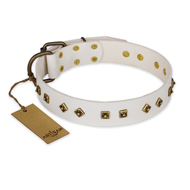 """Snow Cloud"" FDT Artisan White Leather dog Collar with Square and Rhomb Studs"