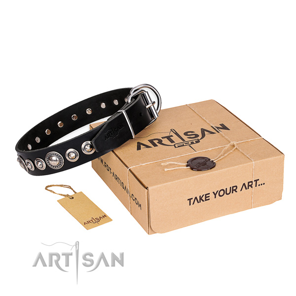 Finest quality full grain leather dog collar