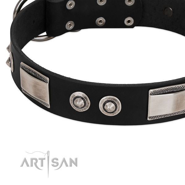 Remarkable full grain genuine leather collar for your canine