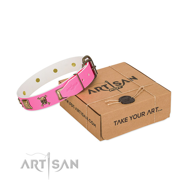 Best quality full grain genuine leather dog collar with trendy embellishments