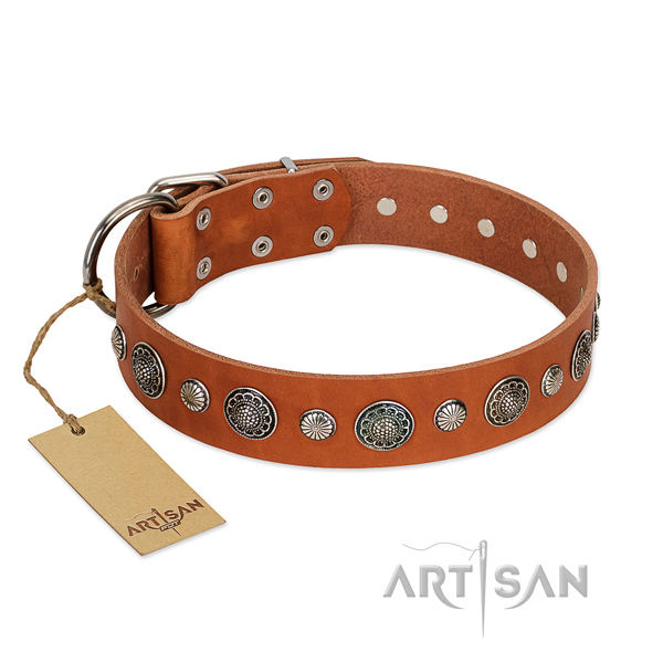 Soft to touch natural leather dog collar with rust resistant D-ring