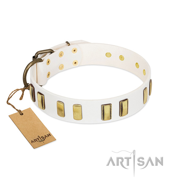 Gentle to touch natural leather dog collar with strong buckle