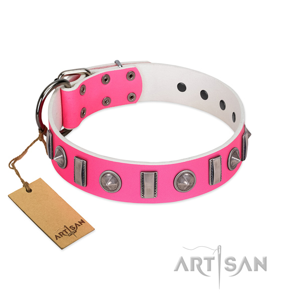 Soft genuine leather dog collar with decorations for your dog
