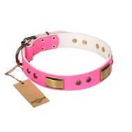 """Pink Daydream"" FDT Artisan Pink Leather dog Collar with Old Bronze Look Plates and Studs"