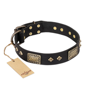 """Jewel Passion"" FDT Artisan Fashionable Black Leather dog Collar"