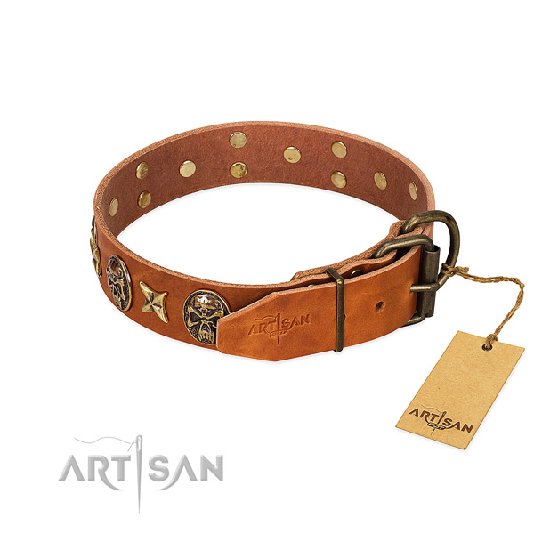 Genuine leather dog collar with rust resistant buckle and decorations
