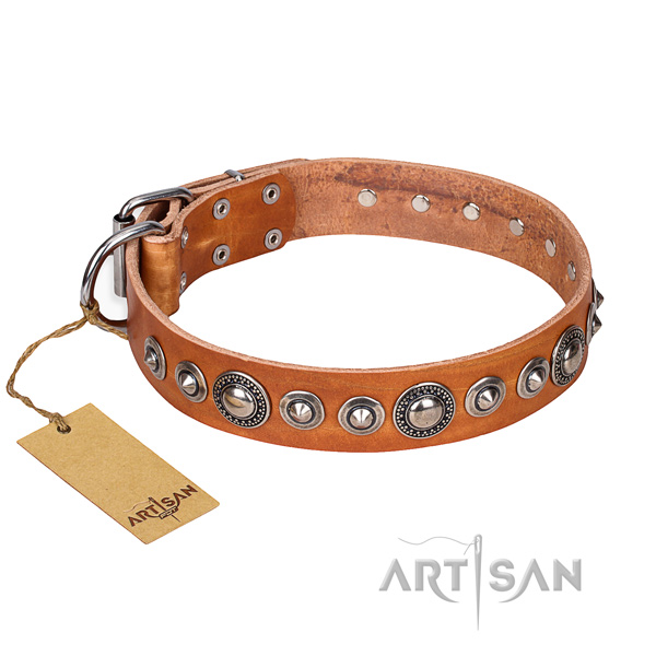 Leather dog collar made of quality material with reliable D-ring