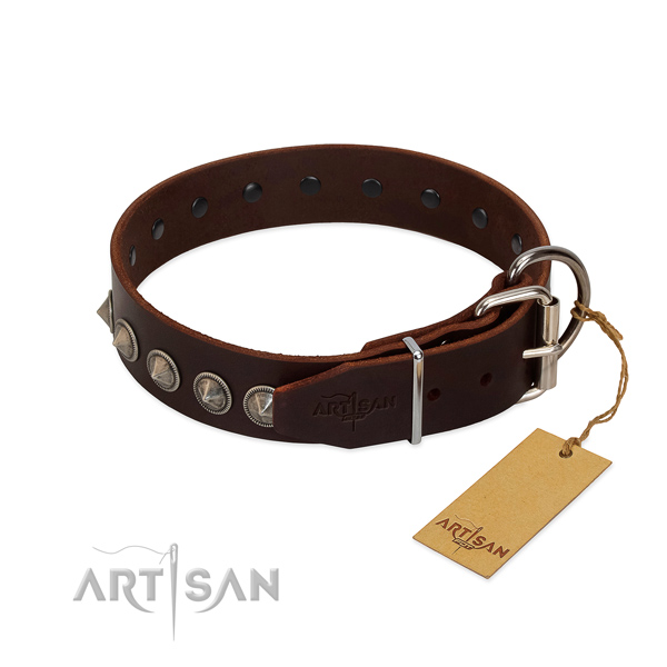 Exquisite decorated leather dog collar for walking